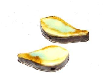 Ceramic Bird Beads Earrings Pair Handmade Rustic
