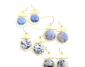 Nia -- gemstone and brass detail earring, boho, minimalist natural, lightweight, modern gem, bohemian, under 30, labradorite