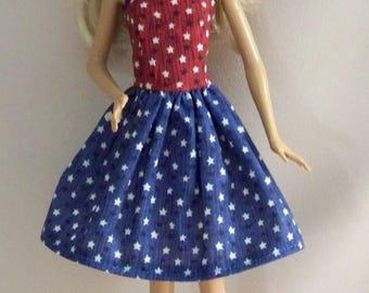 Handmade Barbie Doll Clothes-Red, White, Blue Stars Barbie Dress