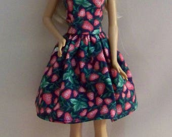 Handmade Barbie Doll Clothes-Navy with Strawberries Print Barbie Dress