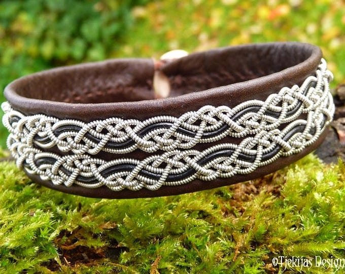 Vikings and Shield Maidens Braided Bracelet Cuff in Brown Leather decorated with Pewter Custom Handmade Sami Bracelet