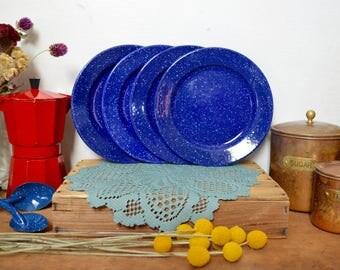 4 Blue Vintage Enamel Plates Speckled Enamelware Camping Small