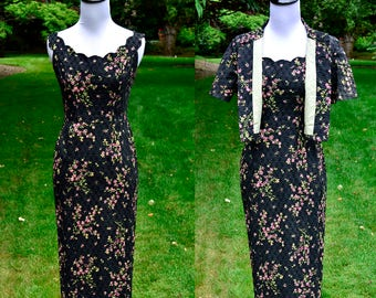 1960s Mr. Mort Vintage Floral Dress with Bolero Jacket / Black 60's Wiggle Dress / Size 6