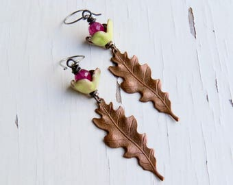 Begonia - handmade artisan bead earrings in lemon yellow and fuchsia with handmade enamel buds, dyed jade and copper leaves  - Songbead UK