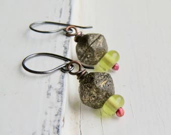 Olive Drop - handmade artisan bead earrings in black, gold and olive with handmade lampwork and pressed glass   - Songbead UK, narrative