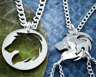 4 Best Friends Wolf necklaces, Wolf Pack, Family Jewelry, Interlocking set, hand cut coin