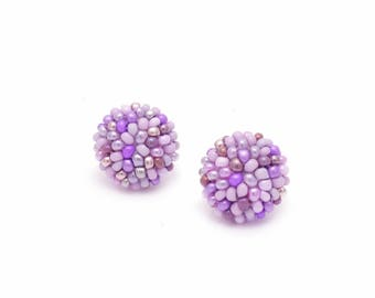 sweet Violet/ Purple studs earrings -15 mm/ charming earring with CLIP on or SILVER post - for pierced or non piercer earlobe