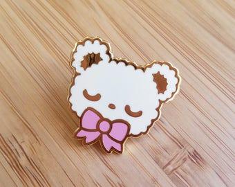 CREAM Sleepy Bear Enamel Pin - Kawaii Teddy Bear Enamel Pin
