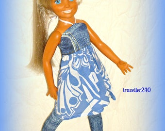 Denim and Cotton, Halter Dress and Leggings, Handmade for 17 - 18 inch Vintage Ideal Crissy doll and Friends, 2 Piece Set, by traveller240