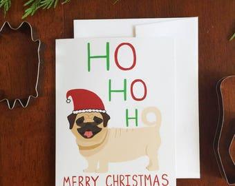 Greeting Card - Christmas Pug - Holiday, Dog, Humor, Animal, Xmas