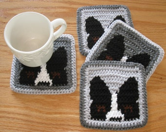Boston Terrier Coasters. Gray, crochet cup coaster set with peeking Boston dogs. Dog cup cozie
