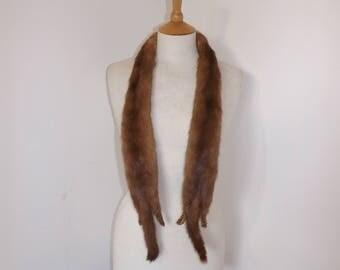 Vintage real dark honey blonde mink fur wrap scarf tippet pelt small stole taxidermy