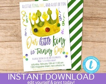 Mardi Gras Birthday Invitation, first birthday, Editable Birthday template, King Cake Party, Fat Tuesday Carnival, templett Instant Download