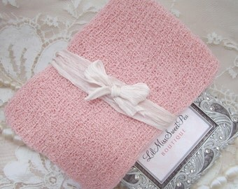 Pastel Pink Knit Swaddle Wrap AND/OR Crinkled Silk Organic Bow Tieback for girls, newborns, baby, bebe fotografia, Lil Miss Sweet Pea