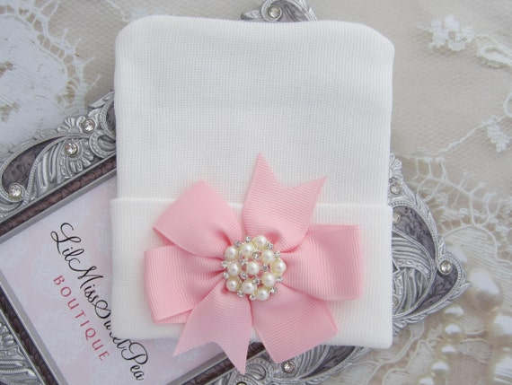 White Newborn Hospital Hat with a Pink Grosgrain Bow Adorned with a Pearl & Rhinestone Button, baby hat, infant, Lil Miss Sweet Pea Boutique