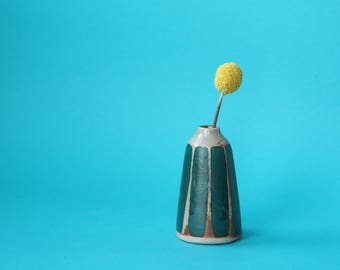teal stripe ceramic bud vase / weed pot