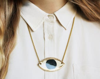 "ceramic evil eye protection necklace // ""LOOK-SEE"""