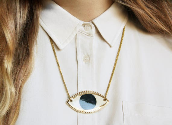"""ceramic evil eye protection necklace // """"LOOK-SEE"""""""