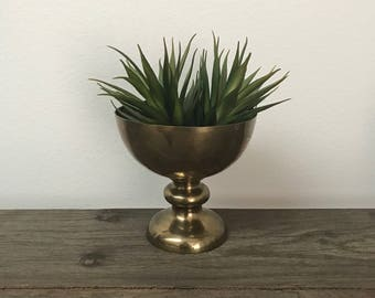 Vintage footed brass bowl compote on pedestal stand