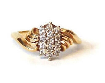 14K Diamond Cluster Ring, Yellow Gold, Vintage, Engagement, Cocktail Ring