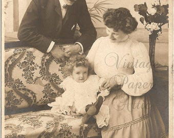 Beautiful Edwardian Family Antique French Photo Postcard RPPC Post Card from Vintage Paper Attic