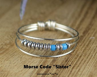 "Morse Code ""Sister"" Ring-Your Choice of Color Beads and Silver, Rose, or Yellow Gold Filled Wire-Size 4 5 6 7 8 9 10 11 12 13 14 1/4 1/2 3/4"