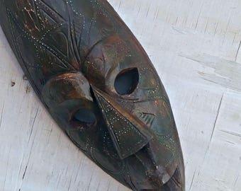 African Wood Mask, Tribal Totem Face, African Wall Decor, Primitive Wood Mask, Dark Brown Carved Wood Long Face Mask, Jungalow Decor Boho