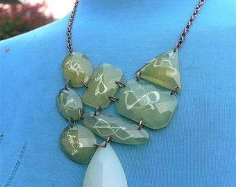 GREEN bridal wedding necklace