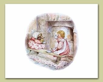 "Tea Party Art, Girls Nursery Print (Beatrix Potter Wall Decor, Hedgehog Artwork) ""Tea Party"" Print -- Peter Rabbit's Friends"