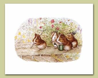 """Guinea Pig Art, Woodland Print (Beatrix Potter Baby Nursery Wall Decor) """"Our Garden"""" -- Peter Rabbit's Friends"""