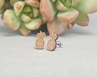 Pineapple Earrings - Laser Engraved Wood - Titanium Stud Post Earring Pair - Food Earrings
