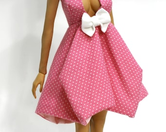 Phicen Sundress in Pink and White Polkadots