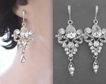 Crystal earrings,Crystal chandelier earrings,Brides earrings, Vintage style earrings,Sterling silver ear wires,Fleur de lis,French,Royals