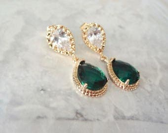 Emerald gold earrings - Cubic Zirconia's - 14k gold over sterling posts - Teardrops - Bridal jewelry - Bridesmaids - Gift