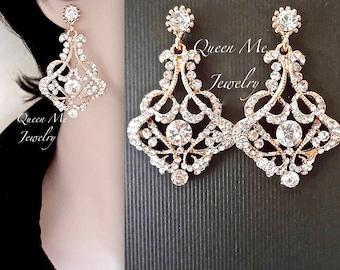 SALE~Gold chandelier earrings, Brides earrings, Crystal rhinestone earrings, Gold statement earrings, Gold Wedding jewelry, STUNNING ~ EVA
