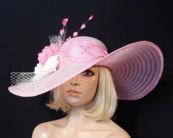 Ladies Pink Hat - Pink and White Hat - Kentucky Derby Hat