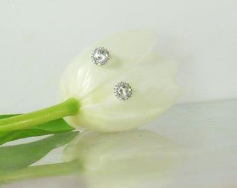 Herkimer Diamond Earrings, Halo Earrings, Conflict Free Jewelry, Conflict Free Gemstones, Herkimer Diamond, Diamond Alternative,