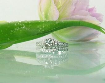 Square Engagement Set, Gemstone Engagement Set, Cushion Cut Ring, Sterling Engagement Set, Engagement Set, Natural Gemstone Ring, Ring
