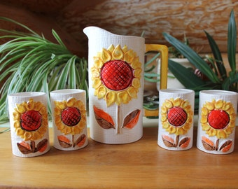 Vntg Japan Yellow Daisy Pitcher and Juice Glasses Set