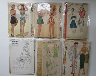 1940s Vintage Bathing Suit and Beachwear Patterns