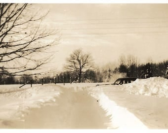 "Vintage Snapshot ""Snowed In"" Wintry Sky Landscape Snowstorm Dramatic Abstract Found Vernacular Photo"