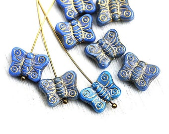 Blue Butterfly beads, Periwinkle blue beads mix, golden inlays, gold washed, czech glass, blue butterflies - 8pc - 2430