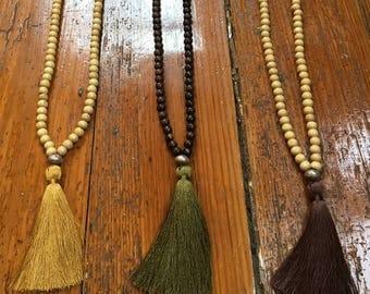 Wood japamala style tassel necklace