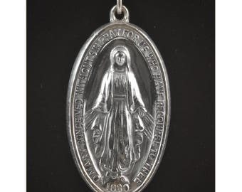 Vintage Catholic Miraculous St Mary Medal 1830 - Sterling Silver - Religious Medal by Creed, Religious Jewelry - Confirmation