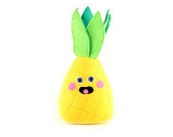 Pineapple Plush Toy, Pineapple Plushie, Stuffed Pineapple, Cute Kawaii Food, Small Soft Plush Fruit,  Stuffed Fruit Toy, Play Food