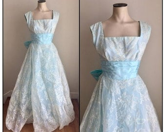Vintage 1950s Harry Keiser Light Blue Prom Formal Dress Full Length