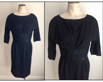 Vintage 1950s 60s Misses' Black Wool Knit Wiggle Dress XS