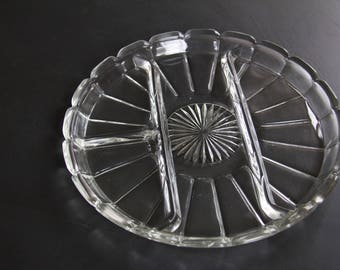 "Beautiful Round Vintage Glass 10"" Divided Vegetable Serving Dish"