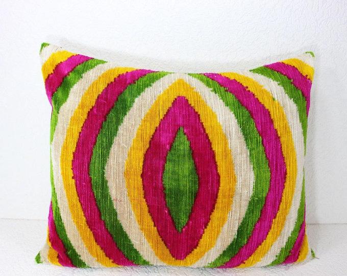 Silk Velvet Ikat Pillow Cover Lp417, Bohemian pillow, Velvet Ikat Pillow, Velvet Pillow, Velvet Pillow Cover, Ikat Pillows, Throw Pillows