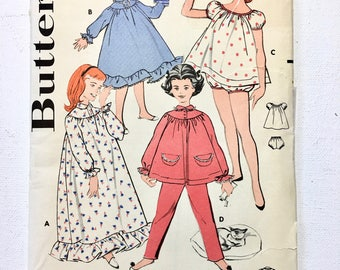 Vintage 1950 Butterick 8251 Girls Nightgown and Pajamas Size 8 Chest 26 UNCUT Factory Fold